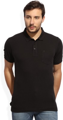 John Players Solid Mens Polo Neck Black T-Shirt