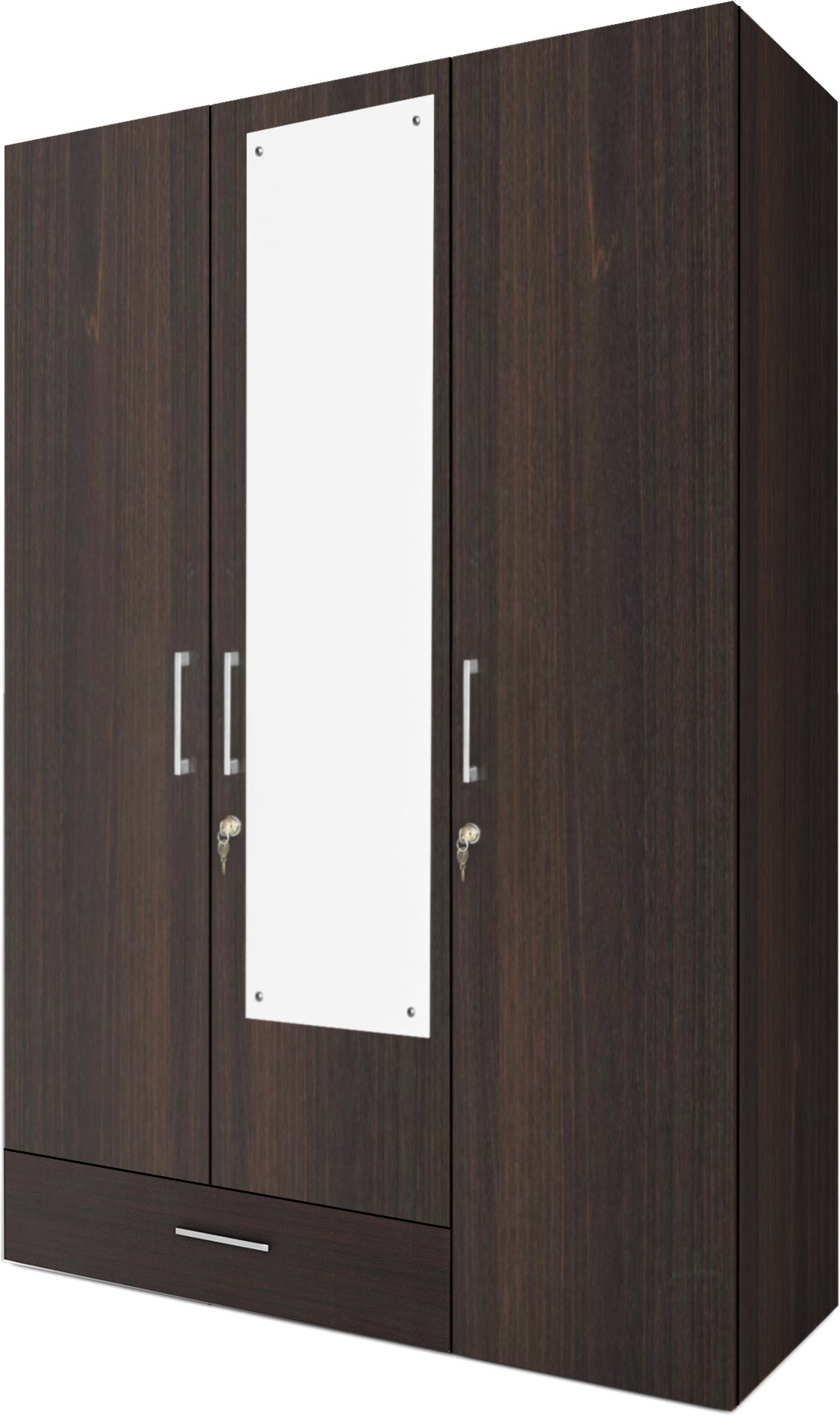View UNiCOS Durban Engineered Wood 3 Door Wardrobe(Finish Color - Wyoming Maple, Mirror Included) Furniture (UNiCOS)