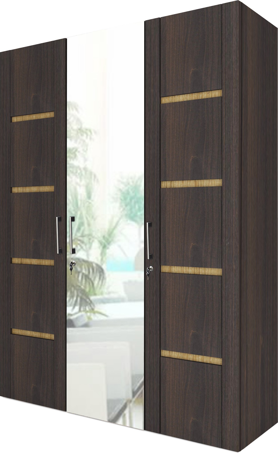 View UNiCOS Iris Engineered Wood 3 Door Wardrobe(Finish Color - Classic Walnut & Urban Teak, Mirror Included) Furniture (UNiCOS)