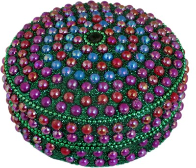 RoyaltyLane Handmade Decorative Box -Green Round Beaded Jewelry Box for Necklace, Earrings, Ring and Chain Aluminium Gift Box(Multicolor)