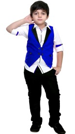 Bad Boys Boys Festive & Party Shirt, Waistcoat and Pant Set(Multicolor Pack of 3)