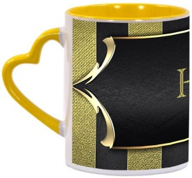 Muggies Magic Hamid High Quality Printing Yellow Heart Handle Ceramic Mug(325 ml)