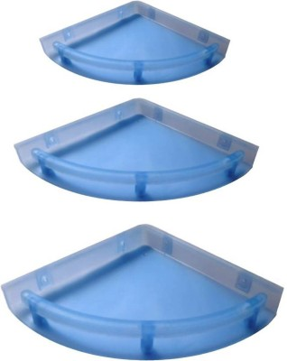 Blue Barrel Unbreakable Bathroom Corner Shelves Set of 3 Plastic Wall Shelf(Number of Shelves - 3, Blue) at flipkart