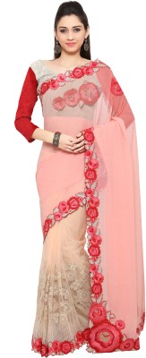 Mahotsav Embroidered Fashion Net Saree(Pink) at flipkart