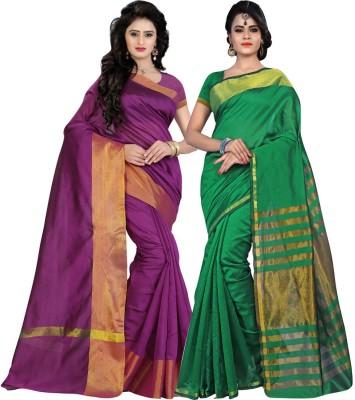 BAPS Striped Fashion Cotton Saree(Pack of 2, Magenta, Green) at flipkart