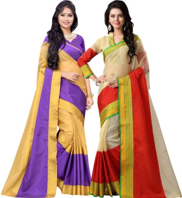 BAPS Striped Fashion Cotton, Banarasi Silk Saree(Pack of 2, Purple, Red) at flipkart