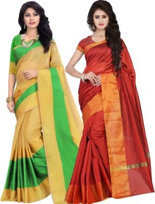 BAPS Striped Fashion Cotton, Banarasi Silk Saree(Pack of 2, Green, Red) at flipkart