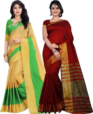 BAPS Striped Fashion Cotton, Banarasi Silk Saree(Pack of 2, Green, Red) at flipkart