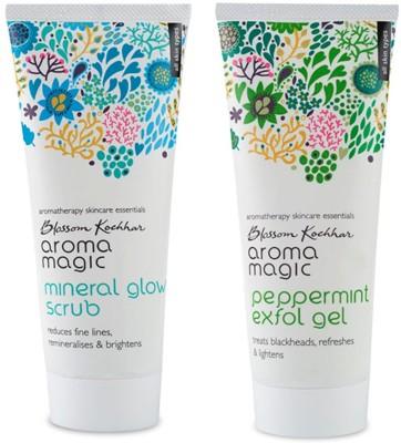 Aroma Magic Peppermint Exfol Gel,Mineral Glow Face Scrub Combo Scrub(200 ml)