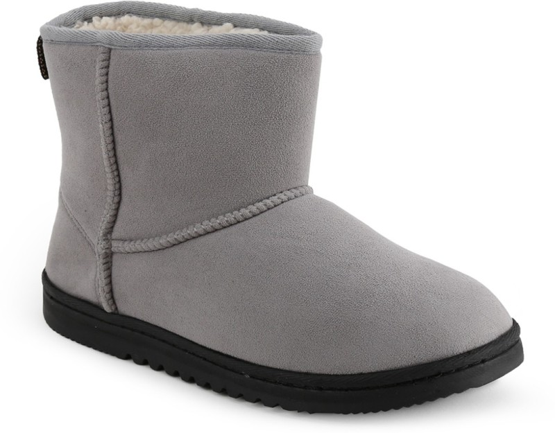Dearfoams Microsuede Boot with Twill Trim and Memory Foam Mocassin(Grey)