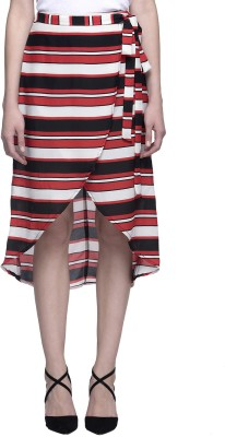 Oxolloxo Striped Women's Asymetric Multicolor Skirt at flipkart