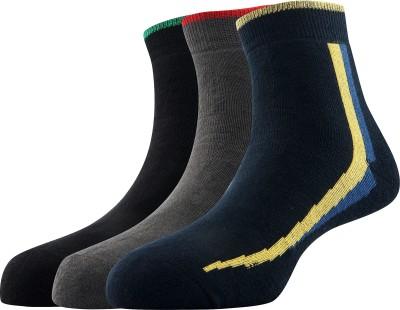Calzini Mens Solid Ankle Length Socks(Pack of 3)