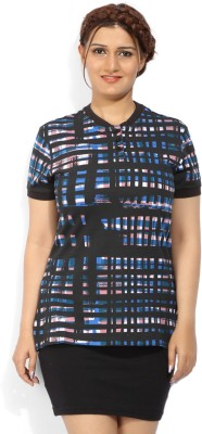United Colors of Benetton Printed Womens Square Neck Black T-Shirt