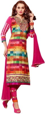 Saara Cotton Floral Print, Embroidered Salwar Suit Dupatta Material(Un-stitched) at flipkart