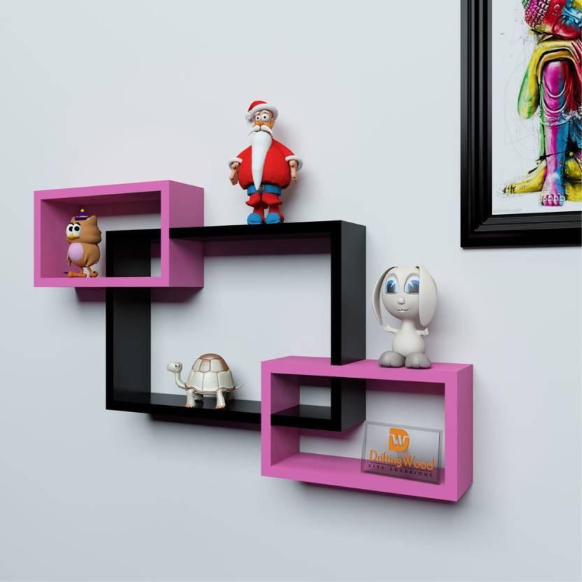 View OnlinePurchas Wooden Wall Shelf(Number of Shelves - 3, Pink, Black) Furniture (OnlinePurchas)