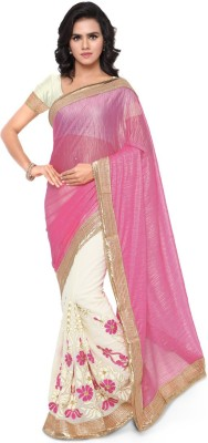 Saara Embroidered Daily Wear Georgette, Net Saree(Pink, Beige) at flipkart