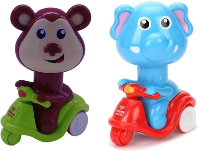 Smiles Creation Press   Go Scooter Riding Elephant With Monkey Toy For Kids Multicolor  available at Flipkart for Rs.299