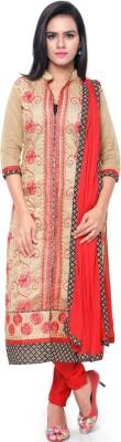 Saara Chanderi Floral Print, Embroidered Salwar Suit Dupatta Material(Un-stitched) at flipkart