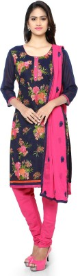 Saara Chanderi Floral Print, Embroidered Salwar Suit Dupatta Material(Un-stitched) at flipkart
