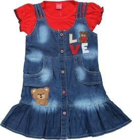 Mini Cats Baby Girl's Midi/Knee Length Party Dress(Red, Half Sleeve)