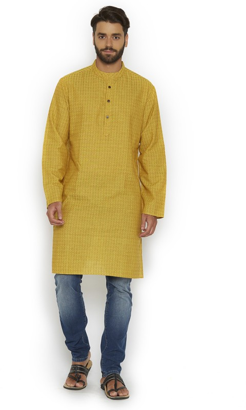 Vivids India Self Design, Textured Men's Straight Kurta(Yellow)