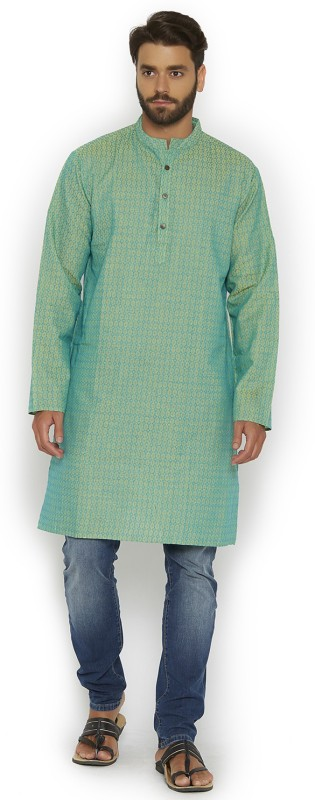 Vivids India Self Design, Textured Men's Straight Kurta(Green)