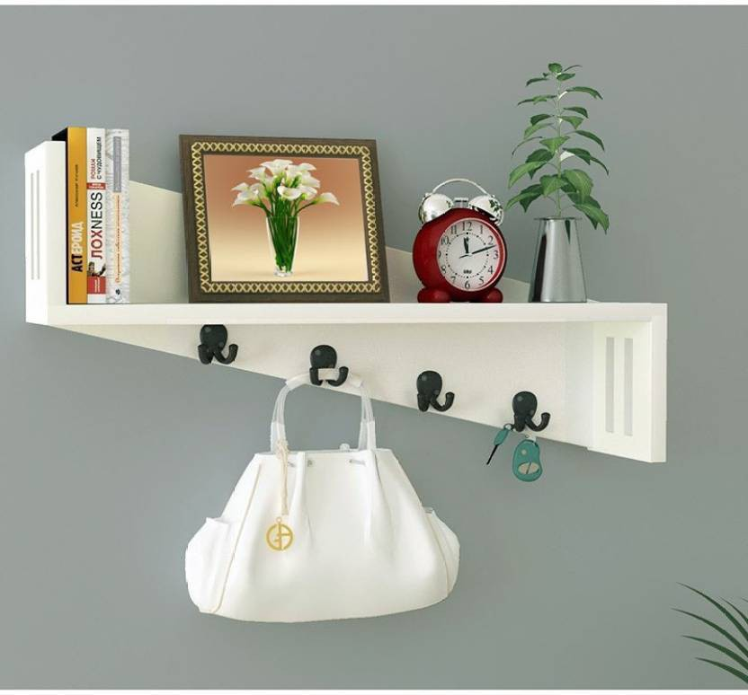 View MartCrown shine wall shelf Wooden Wall Shelf(Number of Shelves - 1, White) Furniture (Martcrown)