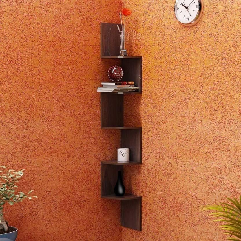 View MartCrown Zig Zag Wooden Wall Shelf(Number of Shelves - 5, Brown) Furniture (Martcrown)