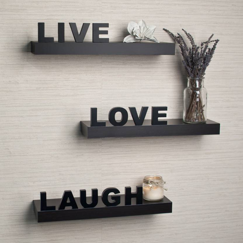 View MartCrown Live Love Lough Wooden Wall Shelf(Number of Shelves - 3, Black) Furniture (Martcrown)