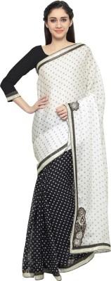 Saara Embellished, Embroidered Fashion Chiffon, Satin Saree(Black, White) at flipkart