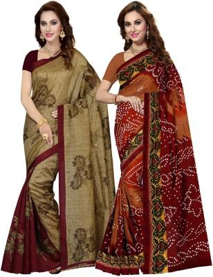 Ishin Printed Bollywood Art Silk Saree(Pack of 2, Multicolor)