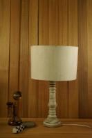 Tu Casa VINTAGE WHITE MANGO WOOD TABLE LAMP WITH DRUM SHADE COLOR--KHADI Table Lamp(50 cm, KHADI)