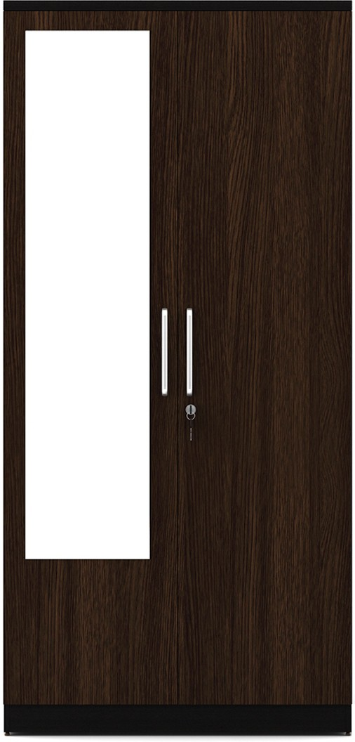 View Spacewood Engineered Wood 2 Door Wardrobe(Finish Color - Natural Wenge, Mirror Included) Furniture (Spacewood)