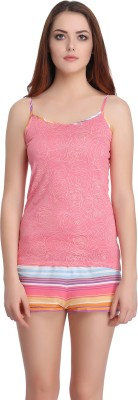 Clovia Women's Printed Pink Top & Shorts Set at flipkart