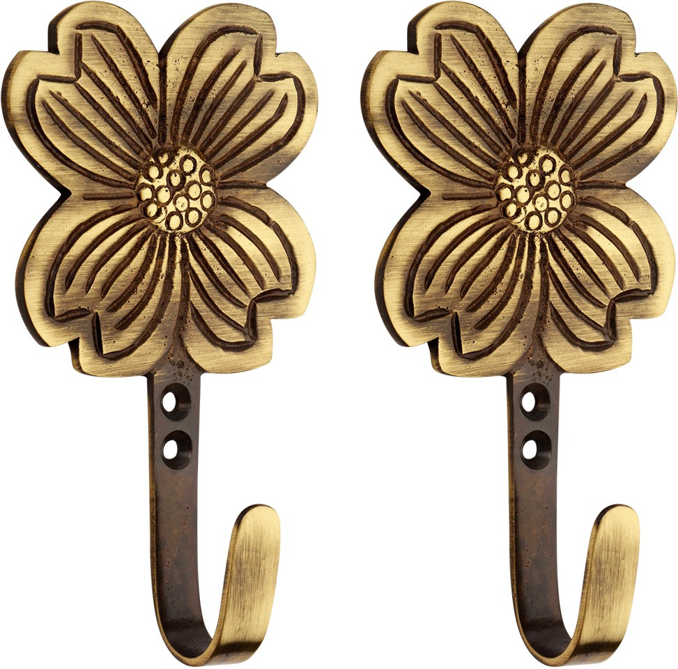 View Hobknobs Flower Antique Brass Robe/Coat/Clothes Hook Brass Wall Shelf(Number of Shelves - 1, Brown) Furniture (Hobknobs)