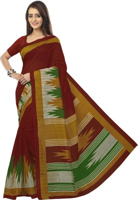 Sunaina Printed Daily Wear Cotton Linen Blend Saree(Multicolor) at flipkart