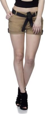 UrSense Solid Women's Beige Basic Shorts at flipkart