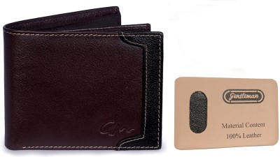 Gentleman Men Black Genuine Leather Wallet(10 Card Slots)