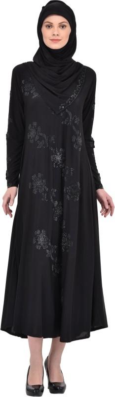Wraps N Drapz WD2123 I Lycra Self Design Burqa With Hijab(Black)