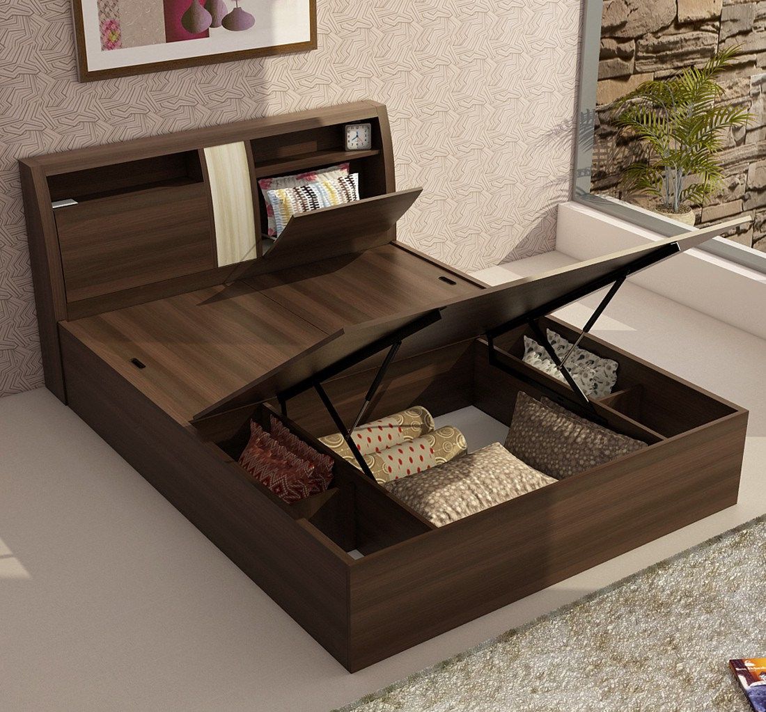 View Spacewood Engineered Wood Queen Bed With Storage(Finish Color -  Melamine) Furniture (Spacewood)