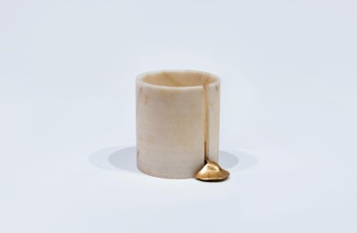 1 BHK Interiors Marble, Brass 1 - Cup Candle Holder Set(White, Pack of 1)