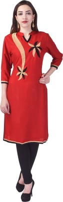 Lipsa Casual Embroidered Women's Kurti(Red) at flipkart