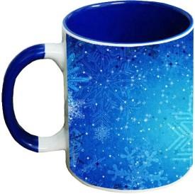 Muggies Magic snowflakes blue patterns Blue Handle Ceramic Mug(325 ml)