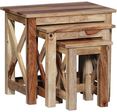 Ringabell Solid Wood Nesting Table(Finish Color - Natural, Set of - 3)