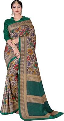 AJS Printed Mysore Crepe Saree(Multicolor) at flipkart