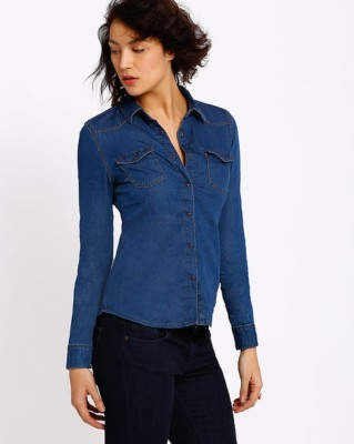 e4fe1e08169 Ladybird Girls Solid Casual Denim Blue Shirt Best Price in India ...