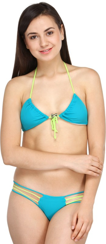 N-Gal N-Gal Blue Triangular Bikini with Contrast Straps Solid Women's Swimsuit