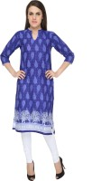 Naksh Jaipur Printed Women's Straight Kurta(Blue)