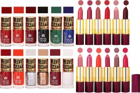 Aroma Care Dull Velvet Matte Quick Dry Nail Polish Combo 12 Pcs with Dry Matte Lipstick Set of 12 Pcs(Set of)