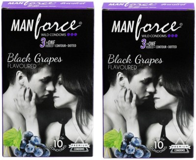 Manforce Black Grapes, Dotted Combo 2 (Concealed/Confidential Packaging) Condom(Set of 2, 20S) at flipkart
